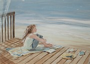 Oceanscape Paintings - Young Christina by the beach by Tina Obrien