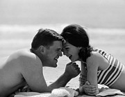 Suntanning Prints - Young Couple Print by Hans Namuth and Photo Researchers
