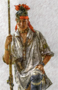 Pennsylvania Art - Young Delaware Indian Portrait  by Randy Steele