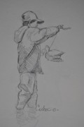 Duck Hunting Drawings - Young Duck Hunter Sketch. by Calvin Carter