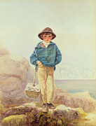 Standing Painting Framed Prints - Young England - A Fisher Boy Framed Print by Alfred Downing Fripp