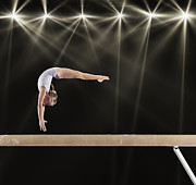 World Series Prints - Young Female Gymnast On Balance Beam Print by Robert Decelis Ltd