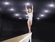 World Series Prints - Young Female Gymnast Performing On Balance Beam Print by Robert Decelis Ltd