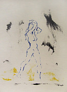 Serigraph Originals - Young Female Nude in Agony While Running from Her Thoughts in Blue Yellow Black Serigraph Monoprint by M Zimmerman