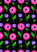 Designs Digital Art Prints - Young Florals  Print by Louisa Knight