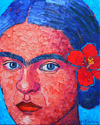 Woman With Black Hair Prints - Young Frida Kahlo Print by Ana Maria Edulescu