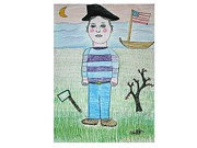Patriotic Mixed Media Originals - Young George Washington by Ward Smith