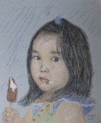 Face Pastels Prints - Young Girl And Icecream Print by Masami Iida