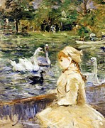 Swans... Painting Posters - Young girl boating Poster by Berthe Morisot