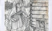 Feeding Drawings Posters - Young Girl Feeding The Chickens In The 1800s Poster by Francine Heykoop