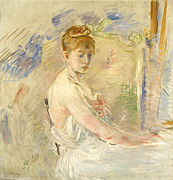 Dressing Room Painting Prints - Young Girl Getting Up Print by Berthe Morisot