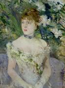 Necklace Paintings - Young girl in a ball gown by Berthe Morisot