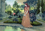 Standing Painting Framed Prints - Young girl in a garden  Framed Print by Eugene Grasset