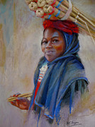 Print Of Paintings - Young Girl in Souq by Dorothy Boyer