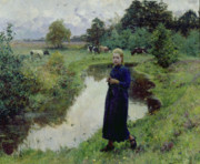 Woman In Pool Posters - Young Girl in the Fields Poster by Evariste Carpentier