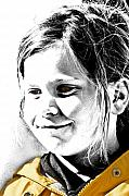 Young Digital Art Originals - Young Girl in Yellow Raincoat with a Sunny Smile by Mark Hendrickson