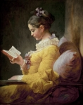 Cushion Painting Metal Prints - Young Girl Reading Metal Print by JeanHonore Fragonard