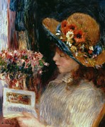 Floral Bouquet Prints - Young Girl Reading Print by Pierre Auguste Renoir