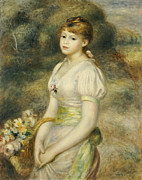 Young Lady Framed Prints - Young Girl with a Basket of Flowers Framed Print by Pierre Auguste Renoir