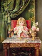 Desk Painting Prints - Young girl with a dove   Print by Ignacio Leon y Escosura