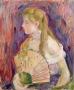 Long Blonde Hair Framed Prints - Young Girl with a Fan Framed Print by Berthe Morisot
