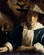 Half Length Posters - Young Girl with a Flute Poster by Jan Vermeer