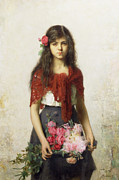 Red Paintings - Young girl with blossoms by Alexei Alexevich Harlamoff