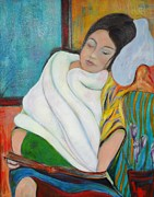 Young Girl Reading Paintings - Young Girl with Blue Pillow by Sheryl Crighton