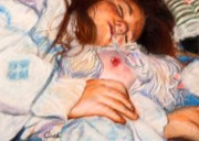Sleep Pastels Posters - Young girl with dolls Poster by Joelle Circe