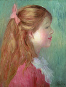 Pink Dress Posters - Young girl with Long hair in profile Poster by Pierre Auguste Renoir