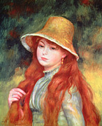 Standing Posters - Young Girl with Long Hair Poster by Pierre Auguste Renoir