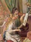 Pierre Auguste Framed Prints - Young Girls at the Piano Framed Print by Pierre Auguste Renoir