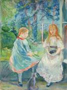 Little Girls Framed Prints - Young Girls at the Window Framed Print by Berthe Morisot