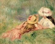 Relaxing Painting Metal Prints - Young Girls on the River Bank Metal Print by Pierre Auguste Renoir