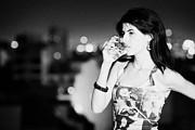 Sky Line Art - Young Hispanic Latin Woman Drinking Glass Of Beer Looking Sad In Buenos Aires Argentina by Joe Fox
