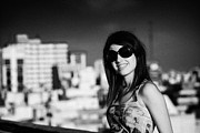 Sky Line Art - Young Hispanic Latin Woman Looking Relaxed Wearing Sunglasses Smiling To Camera Buenos Aires  by Joe Fox