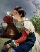 Brunette Painting Posters - Young Italian at the Well Poster by Franz Xaver Winterhalter