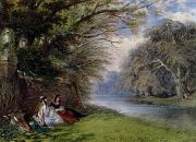 Water Flowing Painting Posters - Young ladies by a river Poster by John Edmund Buckley