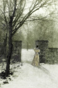 Young Lady Prints - Young Lady by Stone Pillar in Snow Print by Jill Battaglia