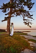 Period Clothing Prints - Young Lady in Edwardian Clothing by the Sea Print by Jill Battaglia