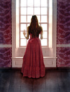 Anxious Framed Prints - Young Lady in Long Gown by Window Framed Print by Jill Battaglia