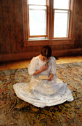 Period Clothing Prints - Young Lady in White Gown Reading Letter Print by Jill Battaglia