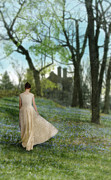 Aristocracy Photos - Young Lady in Yellow Gown Walking Towards Tudor  Mansion by Jill Battaglia