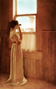 Female Spy Framed Prints - Young Lady Looking Out Window with Binoculars Framed Print by Jill Battaglia