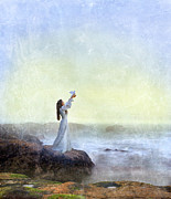 Historical Costume Framed Prints - Young Lady Releasing a Dove by the Sea Framed Print by Jill Battaglia
