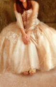Ball Gown Metal Prints - Young Lady Sitting in Satin Gown Metal Print by Jill Battaglia