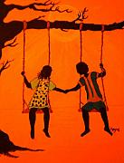 Swing Set Painting Acrylic Prints - Young Love Acrylic Print by Barbara Hayes
