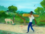 White Shirt Paintings - Young Man Carrying Sugarcane by Nicole Jean-Louis