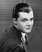 Slicked Back Hair Posters - Young Man Wearing Pinstripe Jacket, (b&w), Portrait Poster by George Marks