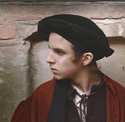 Color Image Paintings - Young man with a black hat by Dominique Amendola